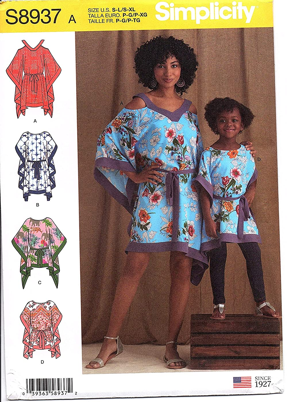 Simplicity Sewing Pattern S8937A - Use to Make - Sizes S-L Child's and S-XL Misses' Caftans in Two Lengths