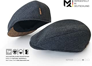 Hergestellt in Deutschland | MAY-TIE Flat Cap | Schirmmütze aus 100% Schurwolle mit Kork | Style: Carbon | Herren Schiebermütze, Barett