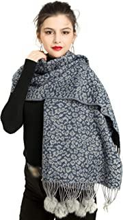 REEMONDE Womens Leopard Print Cashmere Blend Super Soft Large Pashmina Shawl Wrap Scarf With Faux Fur Pompoms
