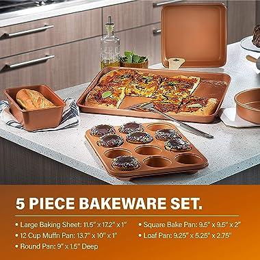 Gotham Steel 20 Piece Pots & Pans Set Complete Kitchen Cookware + Bakeware Set | Nonstick Ceramic Copper Coating – Frying