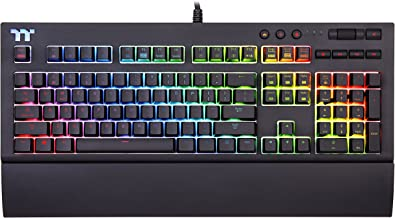 Thermaltake Tt Premium X1 RGB Smartphone Enabled Voice-Controlled AI 16.8 Million Color with 12 Lighting Effects Cherry MX Blue Switches Mechanical Gaming Keyboard KB‐TPX‐BLBRUS‐01