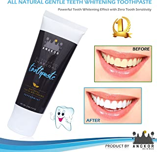 ANGKOR SCIENCE Charcoal Teeth Whitening Toothpaste – Peppermint – Gently Whiten Teeth and Freshen Breath