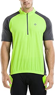 KORAMAN Men's Reflective Short Sleeve Cycling Jersey with Zipper Pocket Quick-Dry Breathable Biking Shirt