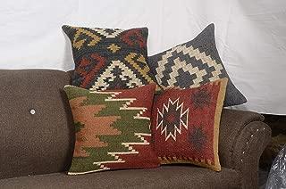 Chouhan Rugs 4 PCS Set of Kilim Cushion Cover Jute Ethnic Pillow Boho Hand Woven Shams Hippie Indian Throw Art