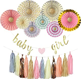 YARA Premium Baby Shower Decorations Kit for Girls| Pink and Gold Party Supplies| Paper