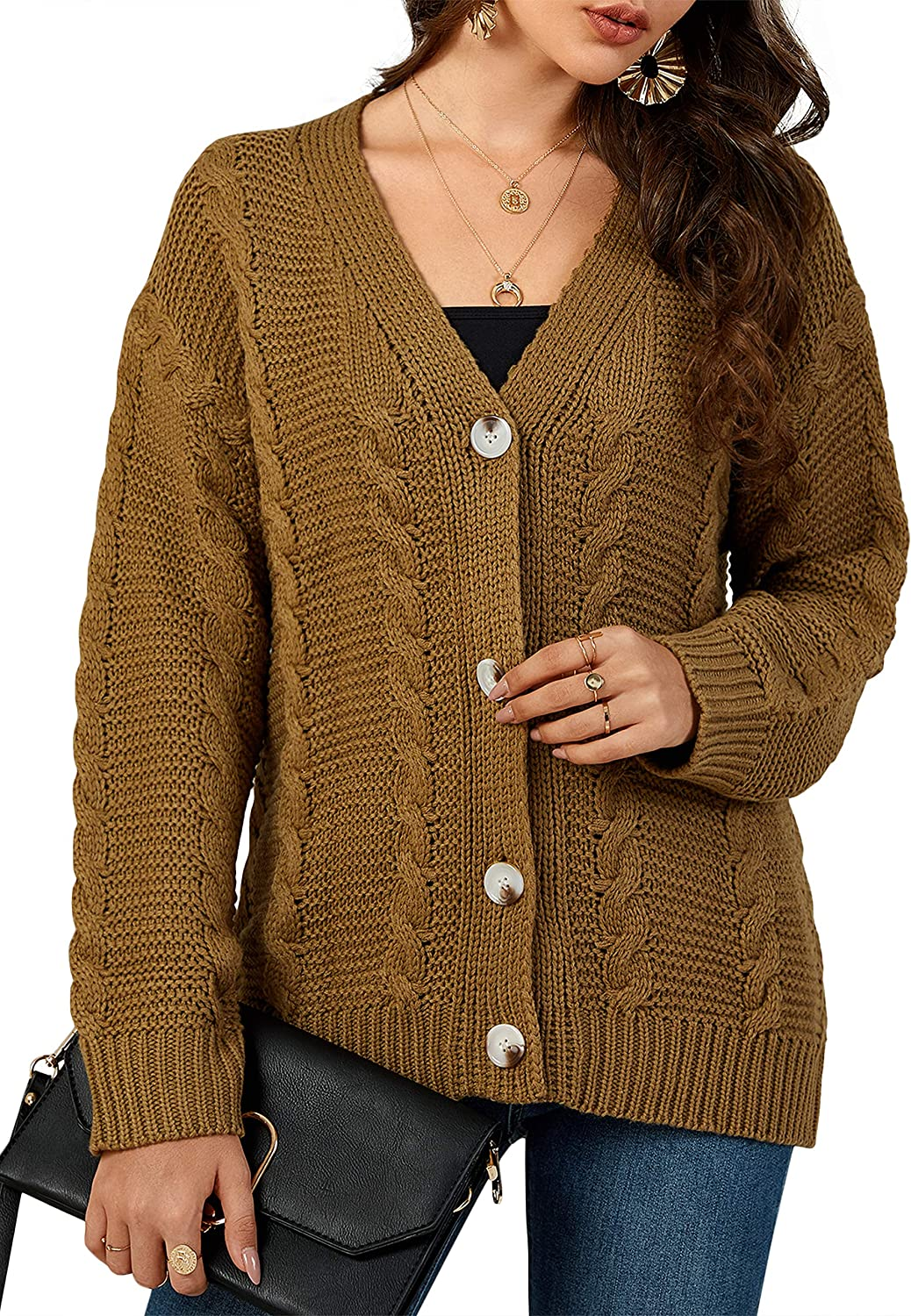 Nulibenna Women Cable Knit Button Down Cardigan Chunky V Neck Open Front Sweater Knitwear Coat