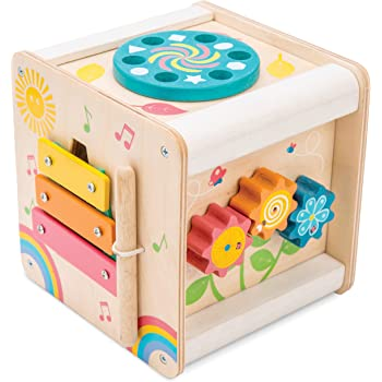 Le Toy Van - Wooden Educational Petilou Multi-Sensory Activity Cube With Spinning Wheel   Suitable For Boy Or Girl 1 Year Old +