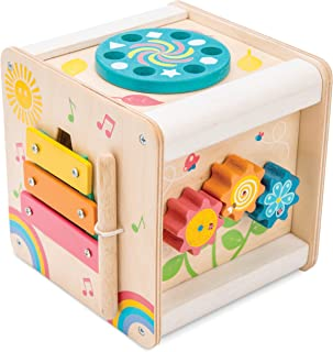 Le Toy Van - Wooden Educational Multi-Sensory Activity Cube With Spinning Wheel | Petilou Range Wood Baby Toy | Suitable F...