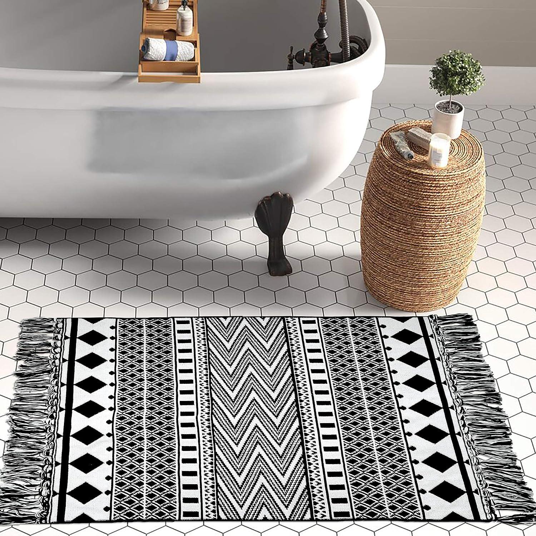 Upgraded Boho Bathroom Rug 20'x20', 20 Woven Geometric Rug for Bedroom  Black and White Rug Bohemian Bath Mat, Kitchen Rug Washable Cotton Small  Throw ...