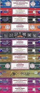 Satya Bangalore (BNG) Set of 12 Nag Champa, Red Champa, Black Champa, Champa, Super Hit, Darshan, Neem Forest, Arabian Musk, Jasmine, Gold, French Lavender, Mystic Rose Incense Sticks