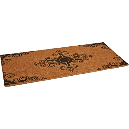 """Rubber-Cal """"Traditional Fleur de Lis French Mat Large Front Door Mat, 24 by 57-Inch"""