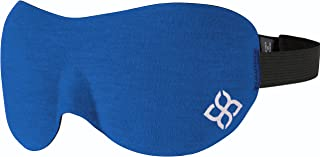 Sleep Mask by Bedtime Bliss - Contoured & Comfortable with Moldex Ear Plug Set. Includes Carry Pouch for Eye Mask and Ear Plugs - Great for Travel, Shift Work & Meditation (Blue)