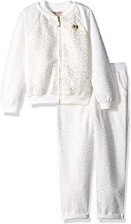 Girls' 2 Piece Quilted Metallic Knit Jacket and Pant Set