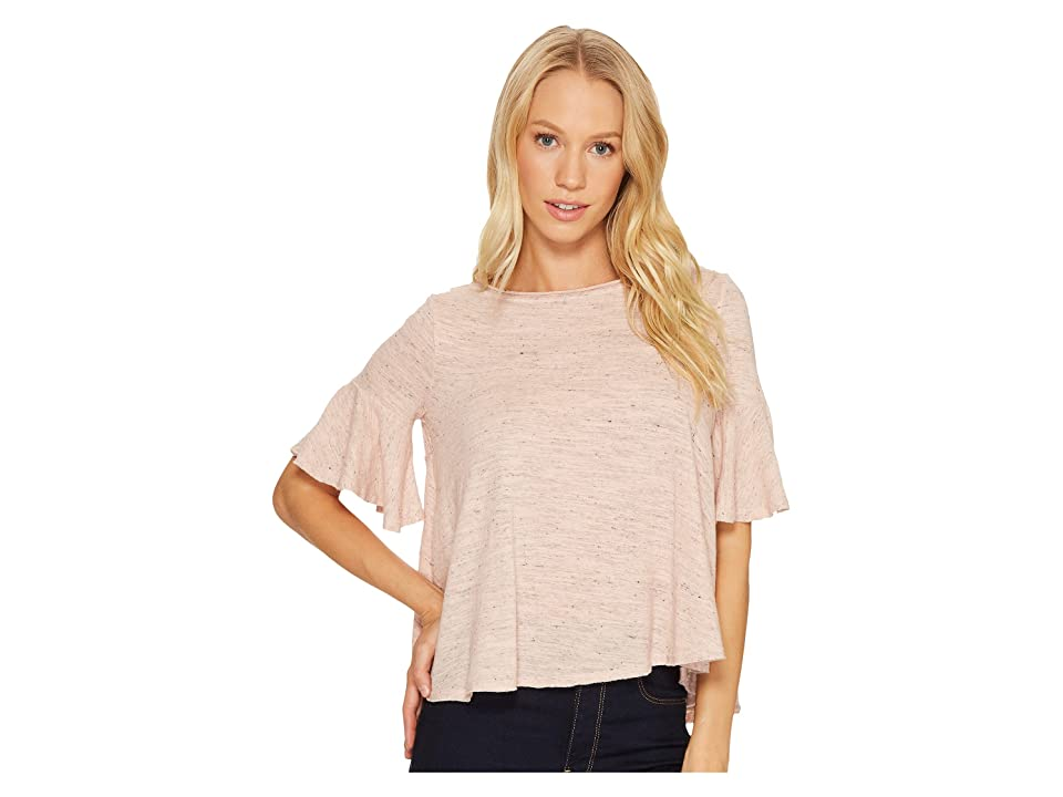 Three Dots Nepps Jersey Easy Flounce Top (Rosebud) Women