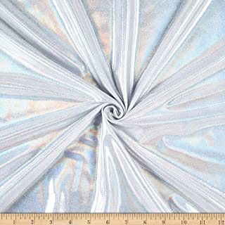 Ben Textiles Inc. Mystic Hologram Lame Knit White Silver, Fabric by the Yard