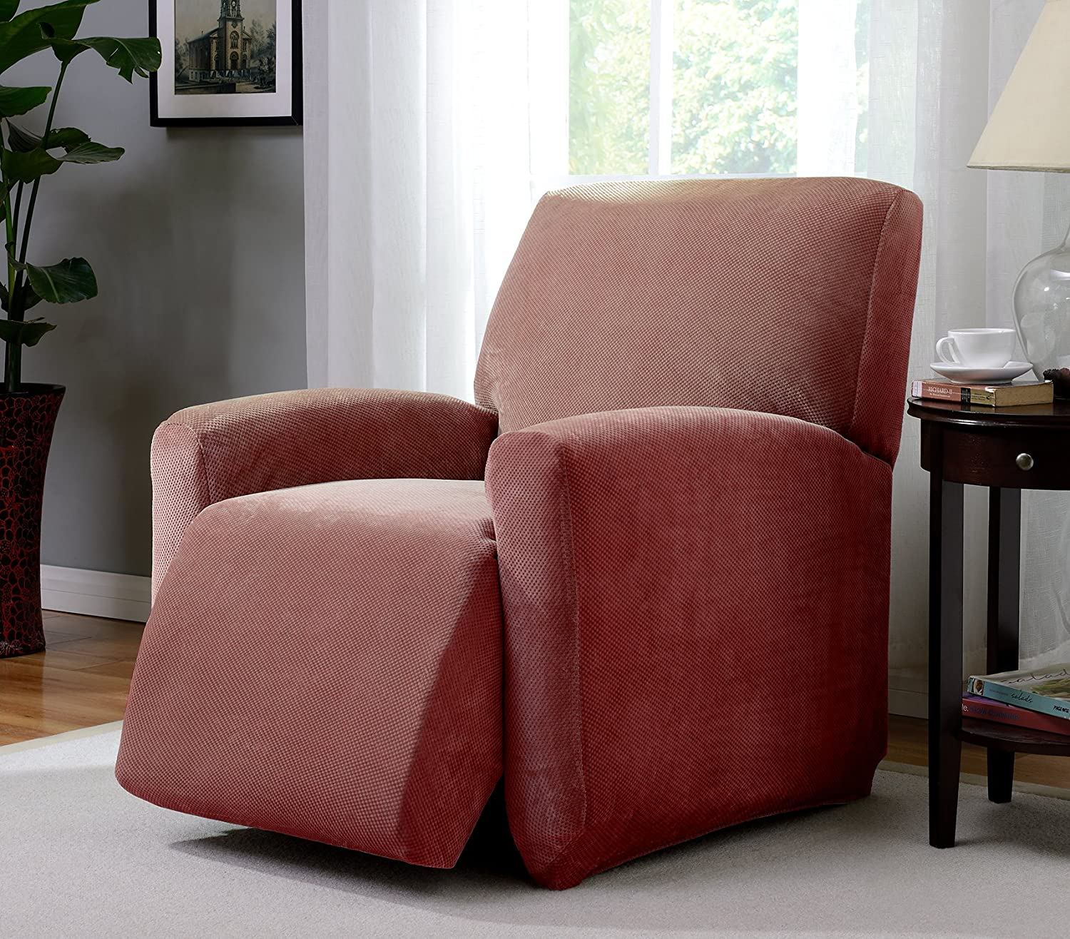 Madison Slipcover Stretch Pique Large Recliner Paprika,