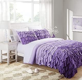 Best dark purple ruffle comforter Reviews