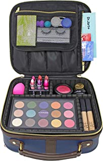 Waterproof PU Leather Makeup Bag with Adjustable Dividers, Cosmetic Case Organizer with Large Brush and Palette Compartments, Portable Toiletry and Jewelry Holder for Home and Travel [Navy Blue]
