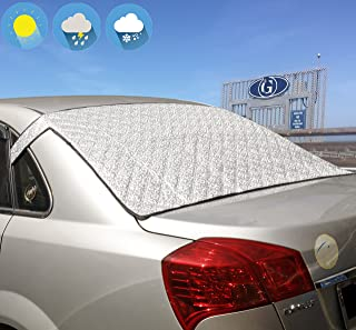 Jackey Awesome Windshield Snow Cover Car Windshield Snow & Sun Shade Protector Exterior Shield Guard Fits Most Weather Winter Summer Auto Sunshade Cover (Silver, for Vehicle Rear Windshield)