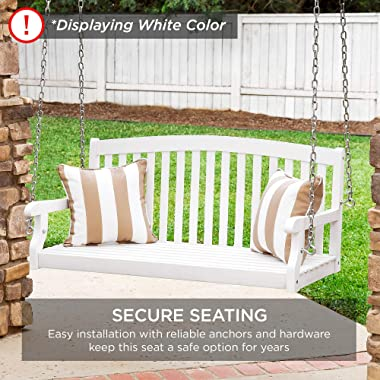 Best Choice Products 48-inch 3-Seater Hanging Porch Swing Acacia Wood Curved Back Bench Outdoor Patio Conversation Furniture