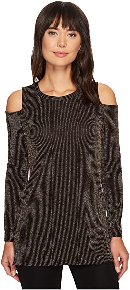 MICHAEL Michael Kors - Sparkle Long Sleeve Cold Shoulder Top