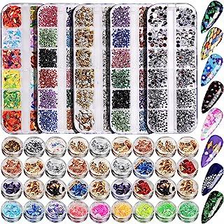 5 Box 11440pcs Nails Rhinestones, 36 Pots Foils Flakes, Teenitor Professional Nail Decoration with Gems for Nails Stud Foi...