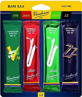 Vandoren SRMIXB25 Bari Sax Jazz Reed Mix Card includes 1 each ZZ, V16 JAVA and JAVA Red Strength 2.5