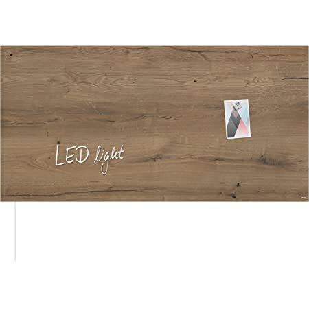 SIGEL GL408 Lavagna magnetica di vetro/bacheca di vetro Artverum LED light, design Natural-Wood, 91 x 46 cm