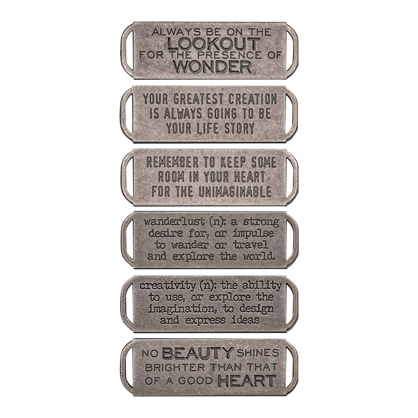 Tim Holtz Idea-ology Metal Stamped Quote Bands 6/Pack, Antique Nickel Finish (TH93290)