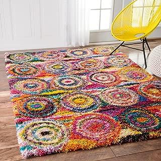 nuLOOM Kindra Circles Shag Rug, 4' x 6', Multi