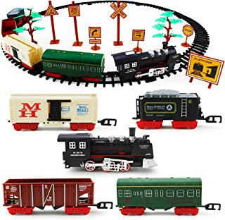 Boley Classic American Model Train Set - Play Toy Train Set with Tracks, Lights, Sounds, Road Signs, and Trees - 56 Pieces