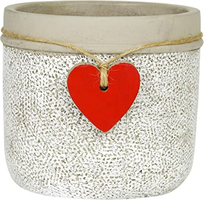 Classic Home and Garden 210028P-396 Heart Pot Planter, Large, Whitewash