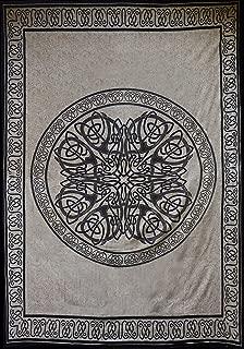 Couverture de Style Viking Nordique N/œud Celtique Wandlovers Super Doux avec Capuche Blanc Guerre scandinave Polaire /Épices crois/ées 130x150cm Big Blanket Cape Faulenzen Imprim/é