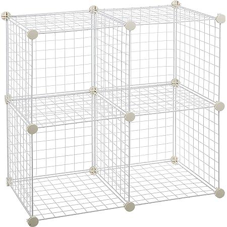 Amazon Basics Lot de 4 cubes de rangement en fil métallique-Blanc