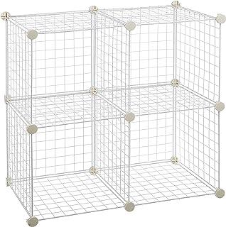 AmazonBasics - Estantes de almacenamiento Cuatro cubos de alambre - Blanco