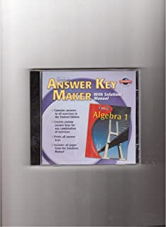 Glencoe Algebra 1. Answer Key Maker. (With Solutions Manual, Teacher's Edition)