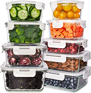 Glass Food Storage Containers with Lids - Glass Meal Prep Containers Glass Containers For Food Storage with Lids 18 Pcs. Glass Storage Containers with Lids Glass Food Containers Glass Lunch Containers