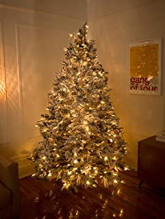Red Co. 6 Feet Premium Snow Flocked Artificial Spruce Hinged Christmas Tree with 340 Warm White LED Lights, 1250 Tips and Sturdy Metal Stand
