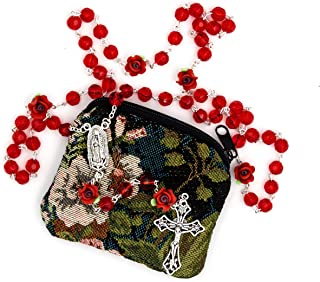 """Our Lady of Guadalupe Red Rose Rosary Gift Set. Includes Our Lady of Guadalupe 8mm red Bead Rosary with Unique Rosebud Beads and Beautiful Matching 4 x 3-1/4"""" H Tapestry Rosary Bag"""