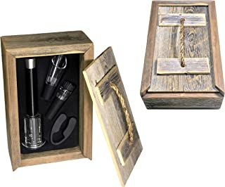DeltaHalo | Farmhouse Air Pressure Wine Bottle Opener 4 Piece Set with Barnwood Display Case[Wine Bottle Opener Set] Quality Aluminum Construction! | American Seller! (Barnwood APBO)