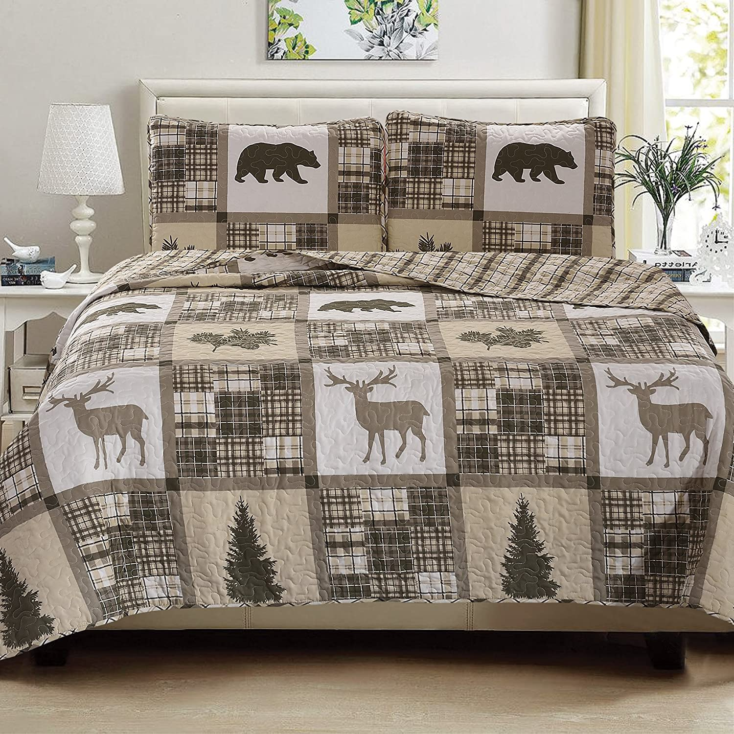 Navy//Grey Stonehurst Collection. Great Bay Home Lodge Bedspread Twin Size Quilt with 1 Sham Rustic Quilt Coverlet Bed Set Cabin 2-Piece Reversible All Season Quilt Set