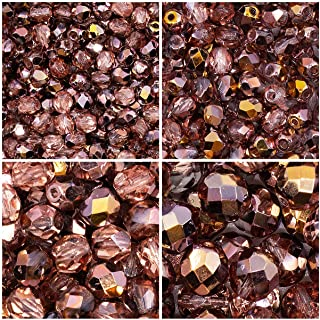 Czech Fire-Polished Faceted Glass Beads Round 3mm, 4mm, 6mm, 8mm, Crystal Capri Gold. Total 275 Beads. Set 1CFP 011 (3FP064 4FP090 6FP008 8FP049)