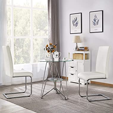 Yaheetech 6PCS Dining Chairs Armless Chairs Side Chairs PU Leather Seat and Metal Legs with High Back for Kitchen, Living Roo