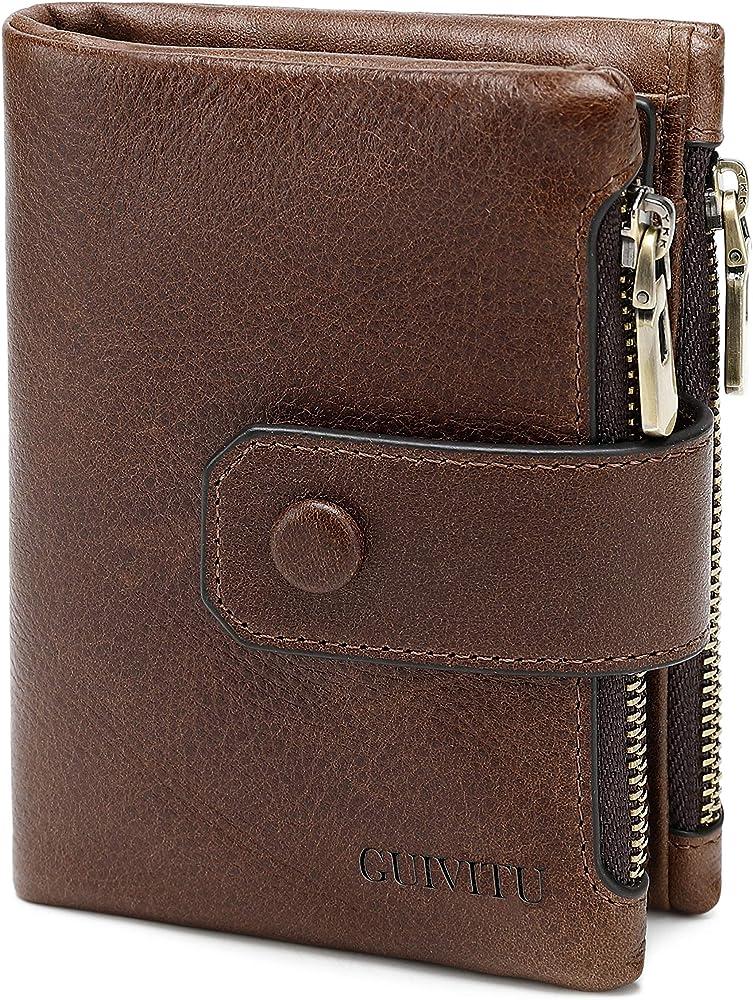 Guivitu portafoglio uomo, porta carte di credito, pora documenti, in vera pelle QB111101