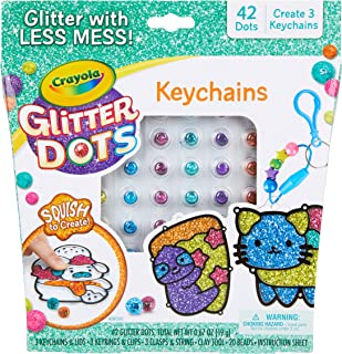 Crayola Glitter Dots DIY Keychains, Kids Craft, Gift for Kids, Ages 5, 6, 7, 8