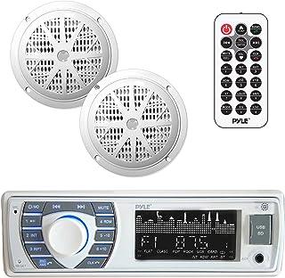 Kit de receptor y altavoz marino – In-Dash LCD Digital estéreo incorporado Bluetooth y micrófono con sistema de radio FM A...