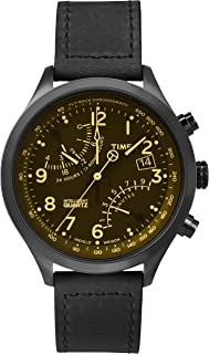 Men's | Quartz Fly-Back Chronograph Black Leather Strap Watch | T2P511