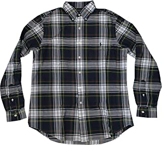 Men's Classic Fit Long Sleeve Oxford Button Front Shirt (Large, Red White Multi Plaid)