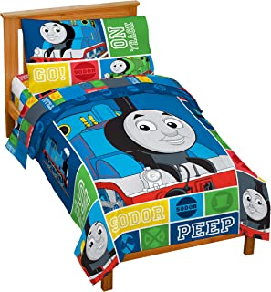 Jay Franco Nickelodeon Thomas & Friends 4 Piece Toddler Bed Set – Super Soft Microfiber Bed Set Includes Toddler Size Comforter & Sheet Set – Bedding Features Thomas (Official Nickelodeon Product)