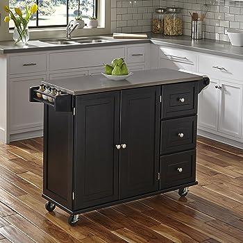 Black Kitchen Island Cart Steel Top Home Living Dining Room Storage Furniture Kitchen Carts Kitchen Dining Bar